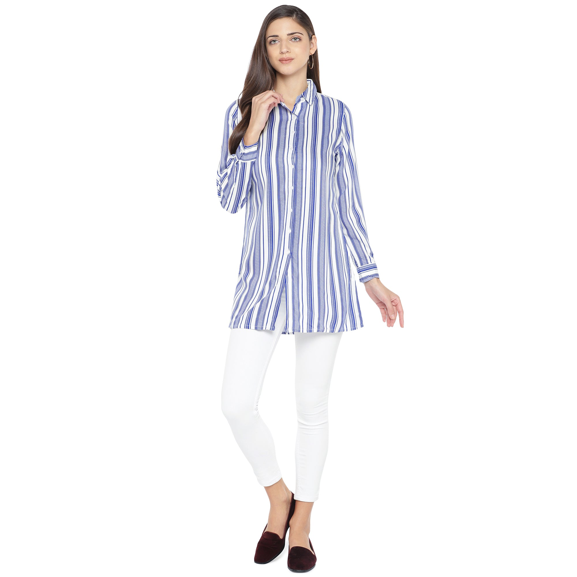 Blue Striped Shirt Style Top-4