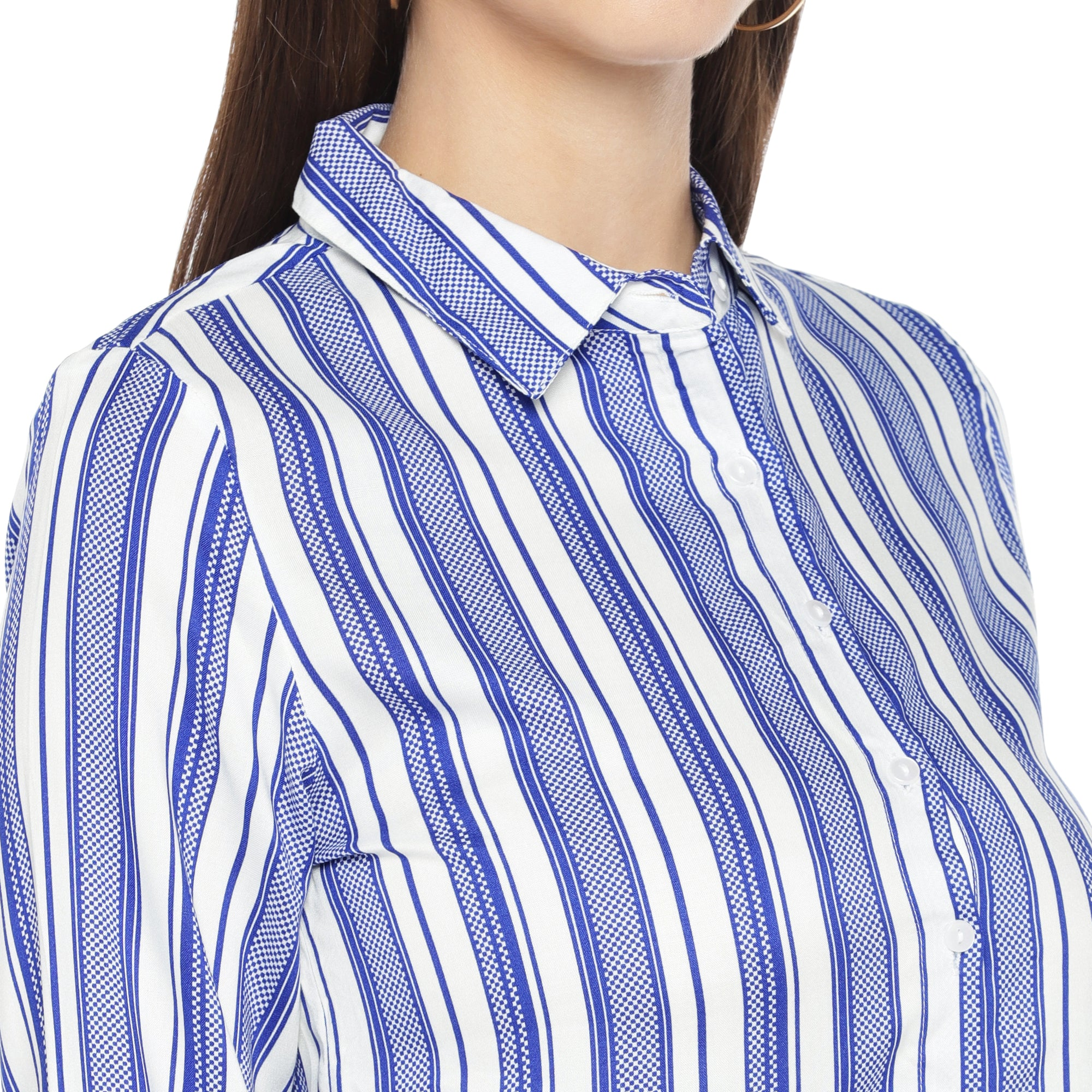 Blue Striped Shirt Style Top-5