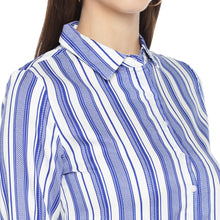 Load image into Gallery viewer, Blue Striped Shirt Style Top-5