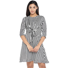 Load image into Gallery viewer, Black & White Striped A-Line Dress-1