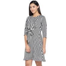Load image into Gallery viewer, Black & White Striped A-Line Dress-2