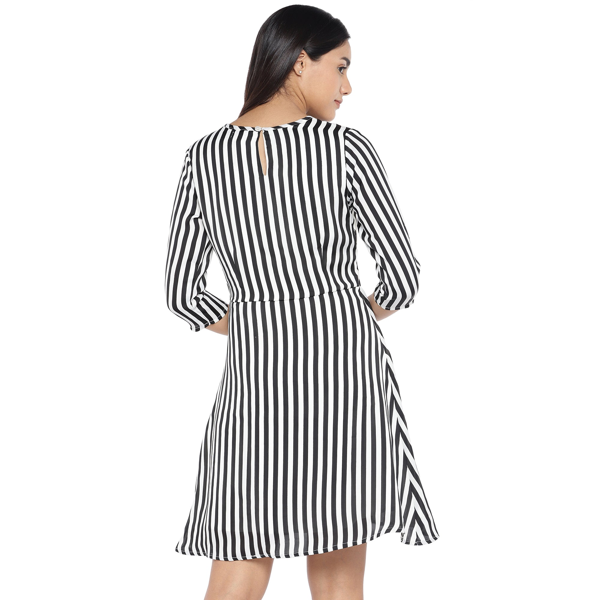 Black & White Striped A-Line Dress-3