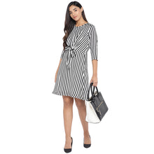 Load image into Gallery viewer, Black & White Striped A-Line Dress-4