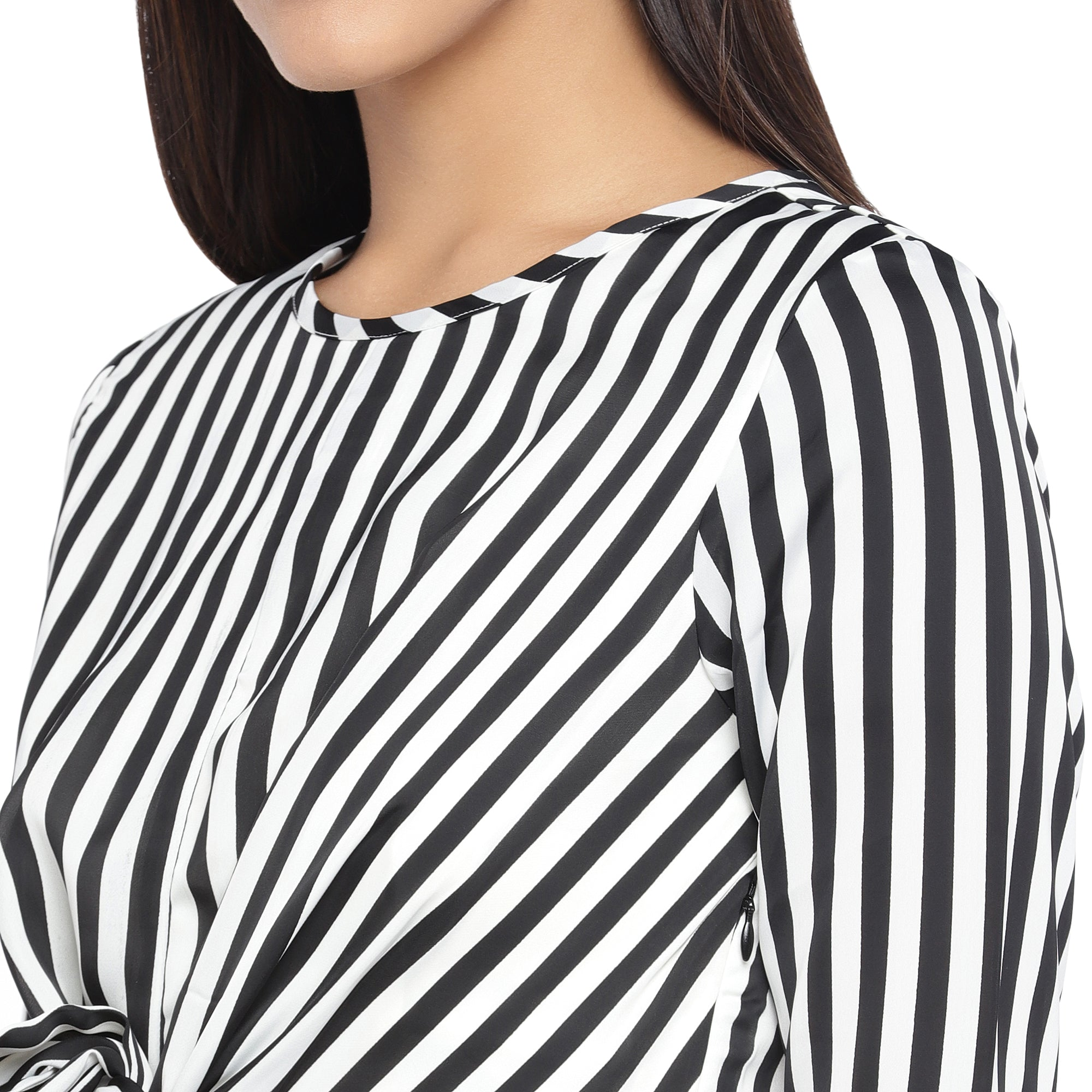 Black & White Striped A-Line Dress-5