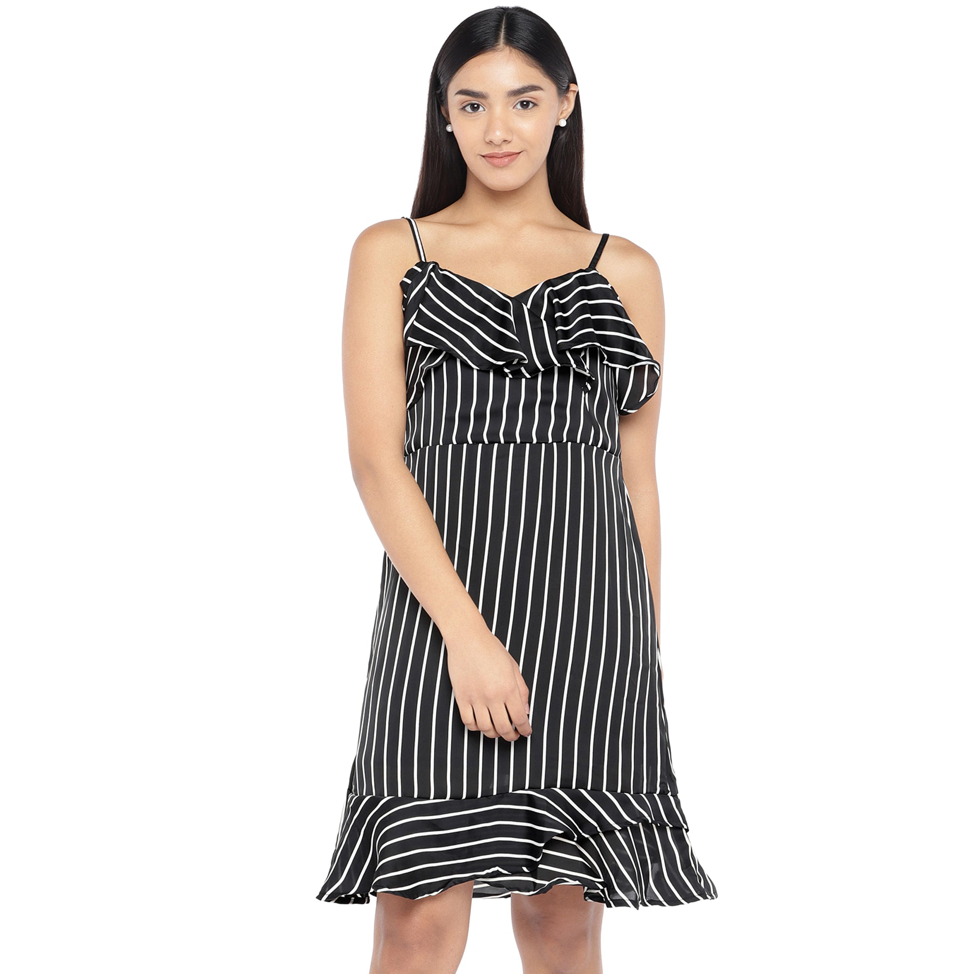 Black & White Striped A-Line Dress-1