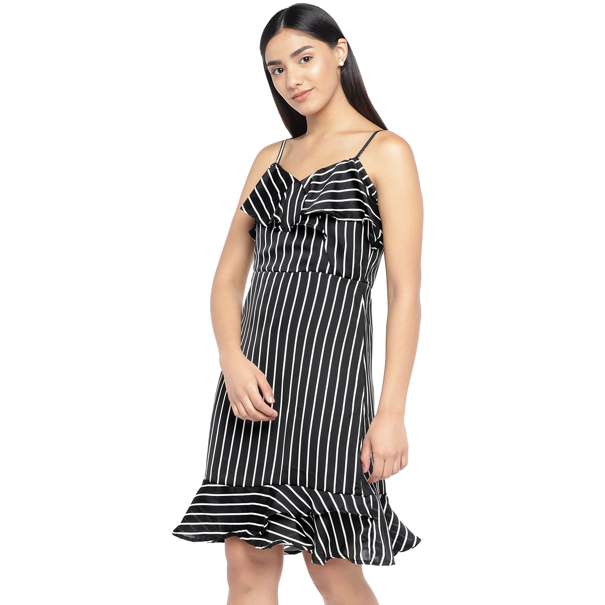 Black & White Striped A-Line Dress-2