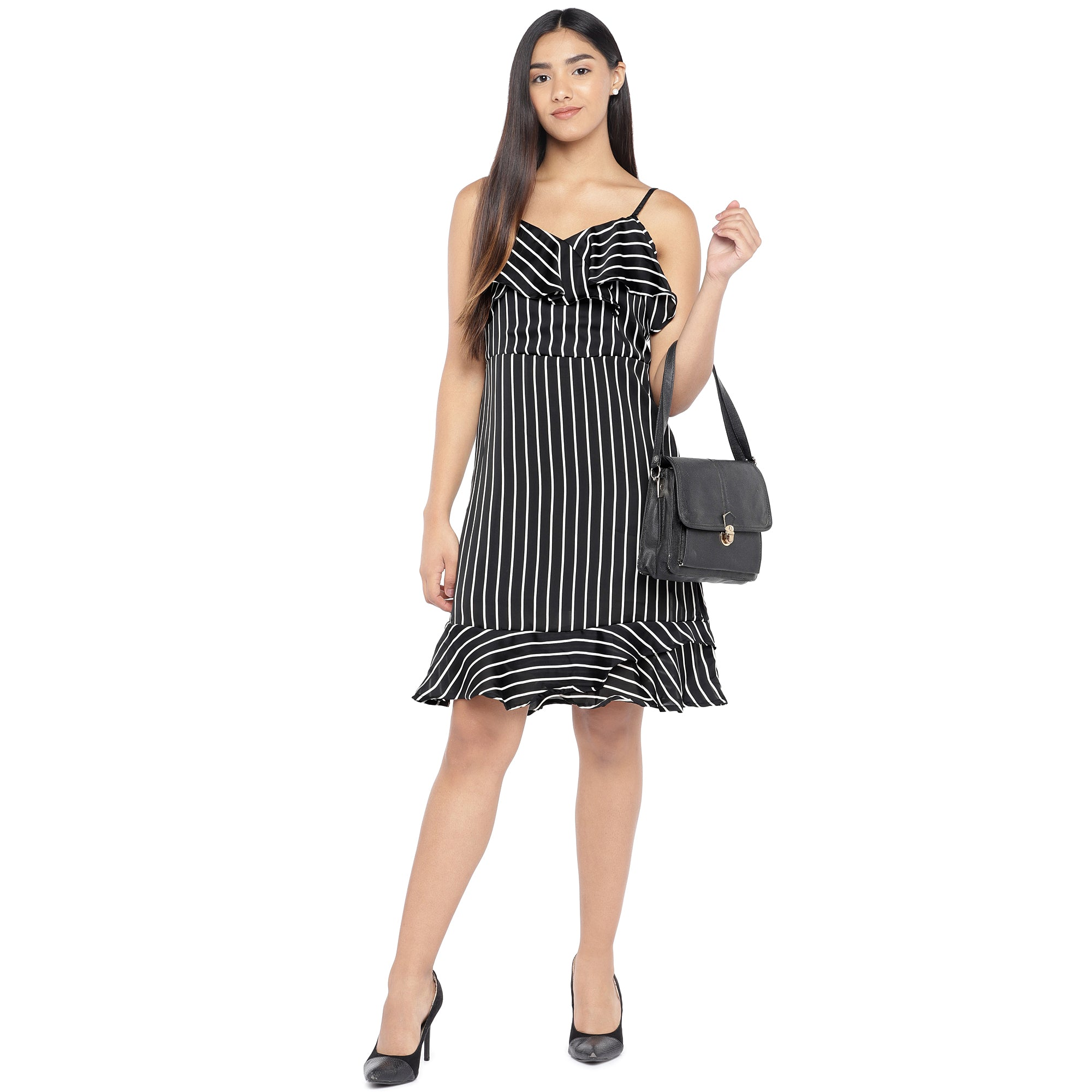 Black & White Striped A-Line Dress-4