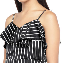 Load image into Gallery viewer, Black & White Striped A-Line Dress-5