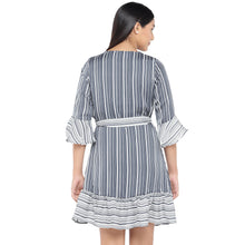Load image into Gallery viewer, Black & White Striped A-Line Dress-3