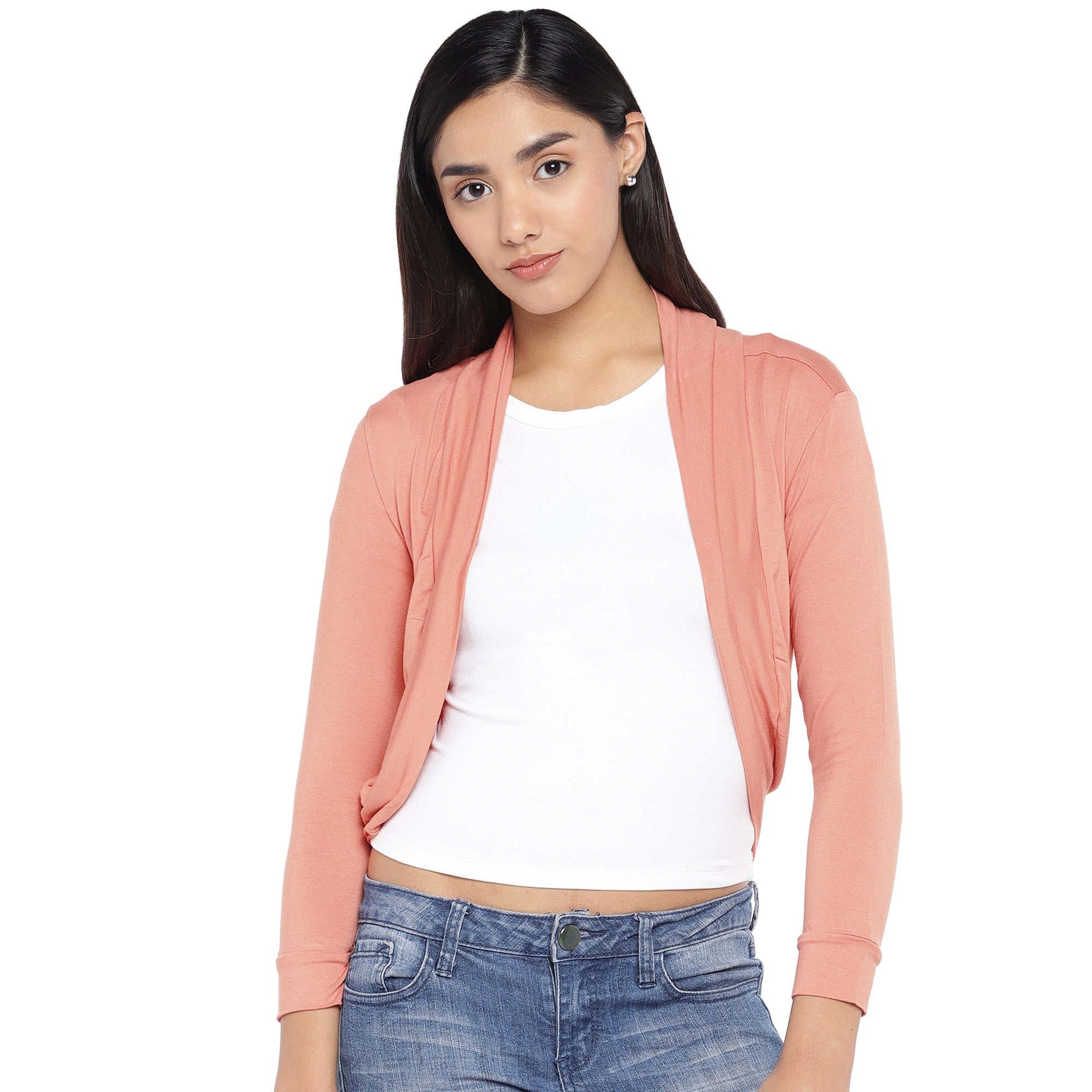 Peach-Coloured Solid Open Front Shrug-1