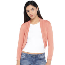 Load image into Gallery viewer, Peach-Coloured Solid Open Front Shrug-1