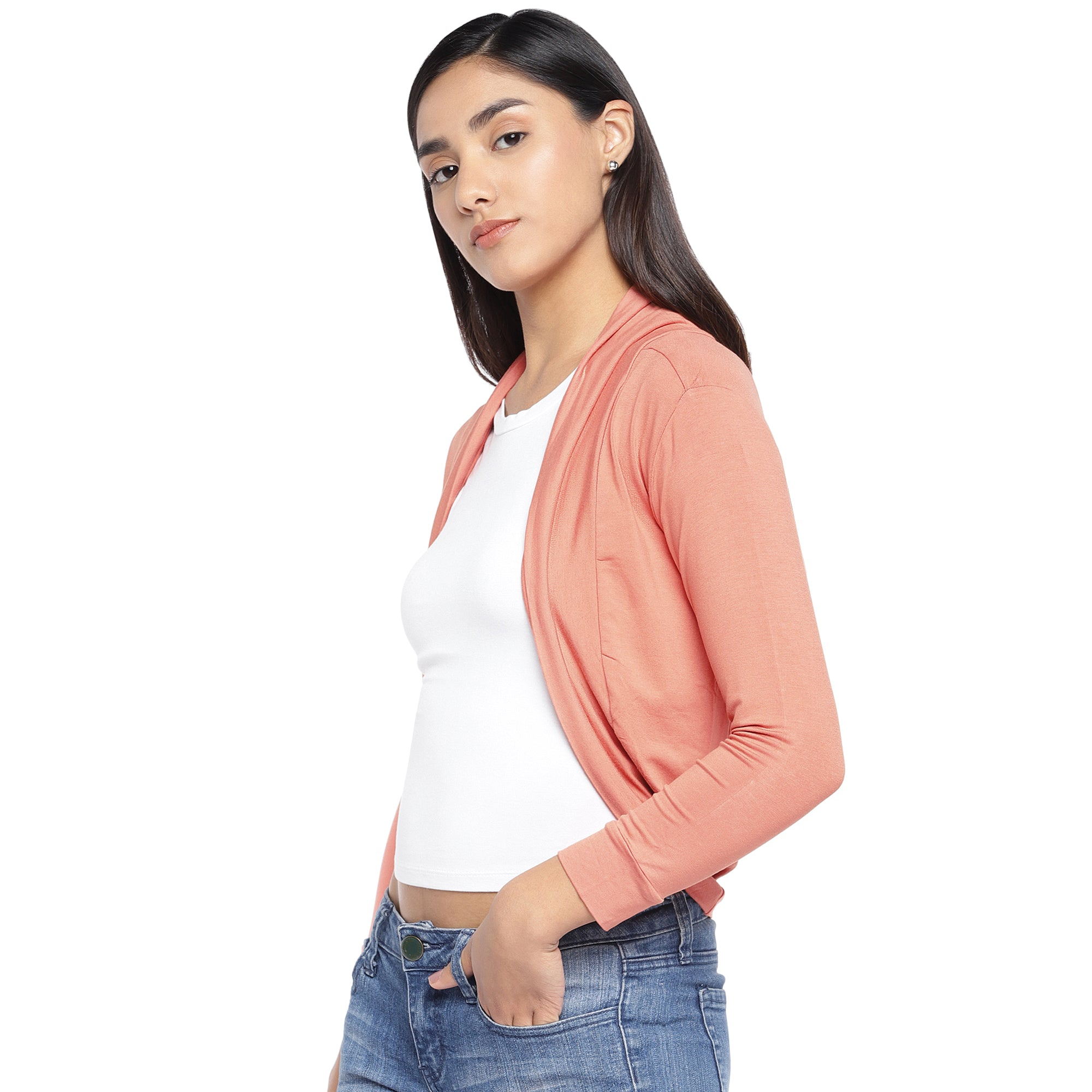 Peach-Coloured Solid Open Front Shrug-2