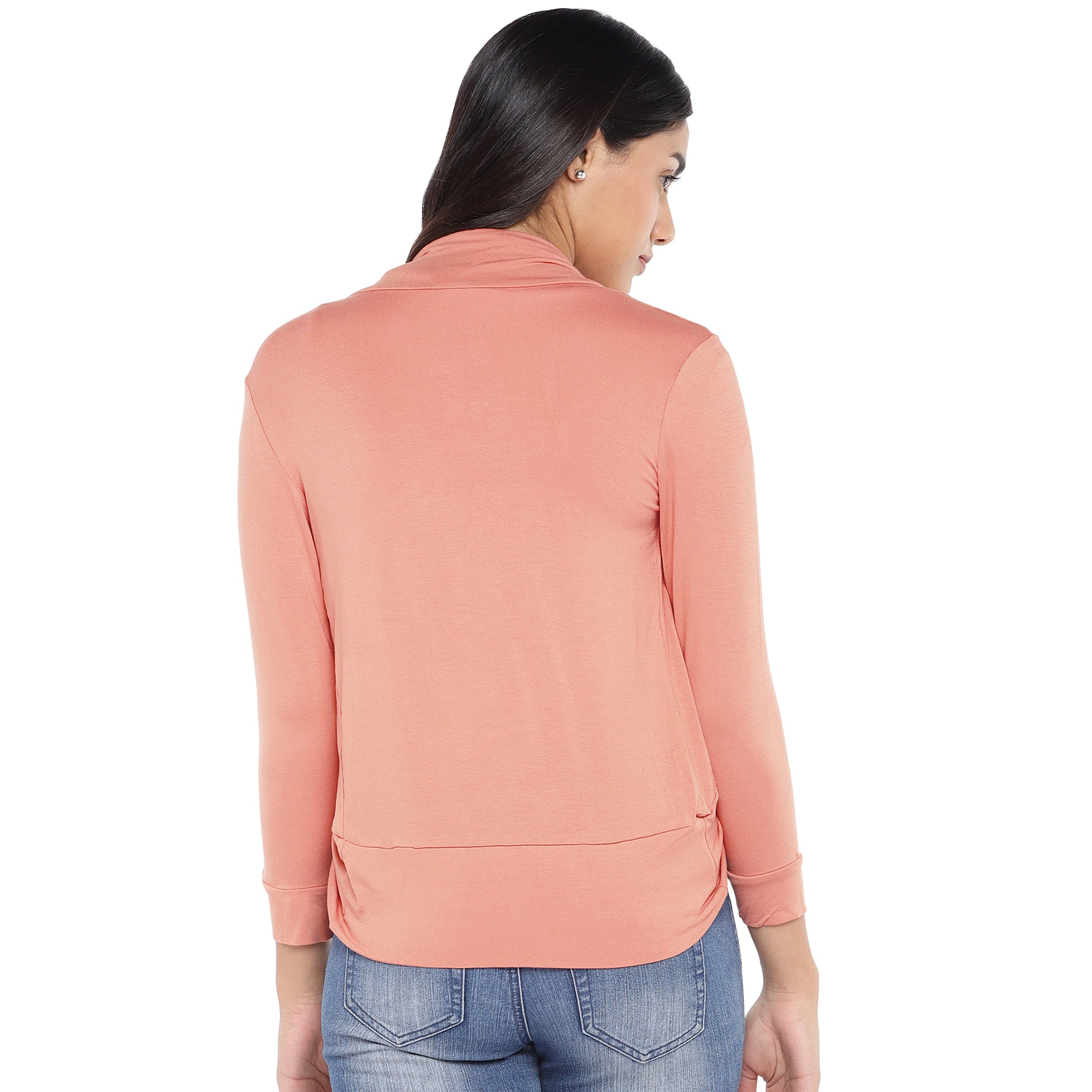 Peach-Coloured Solid Open Front Shrug-3