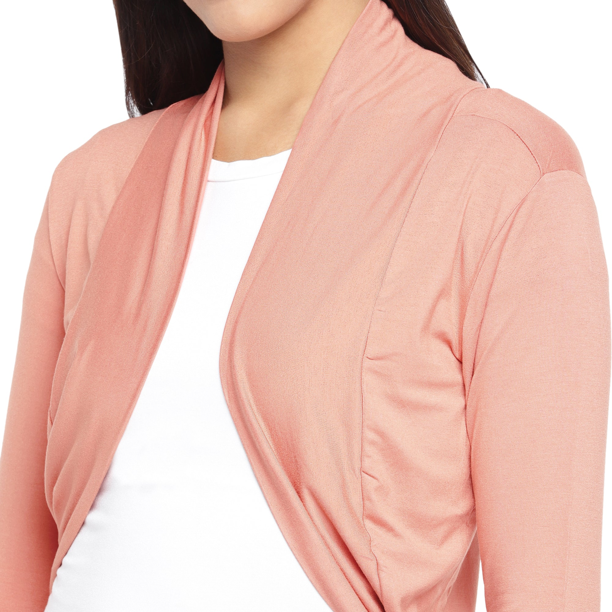Peach-Coloured Solid Open Front Shrug-5