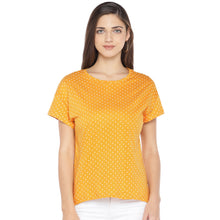 Load image into Gallery viewer, Mustard Printed Round Neck T-shirt-1