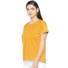 Load image into Gallery viewer, Mustard Printed Round Neck T-shirt-2