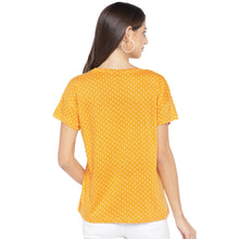Load image into Gallery viewer, Mustard Printed Round Neck T-shirt-3