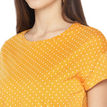 Load image into Gallery viewer, Mustard Printed Round Neck T-shirt-5