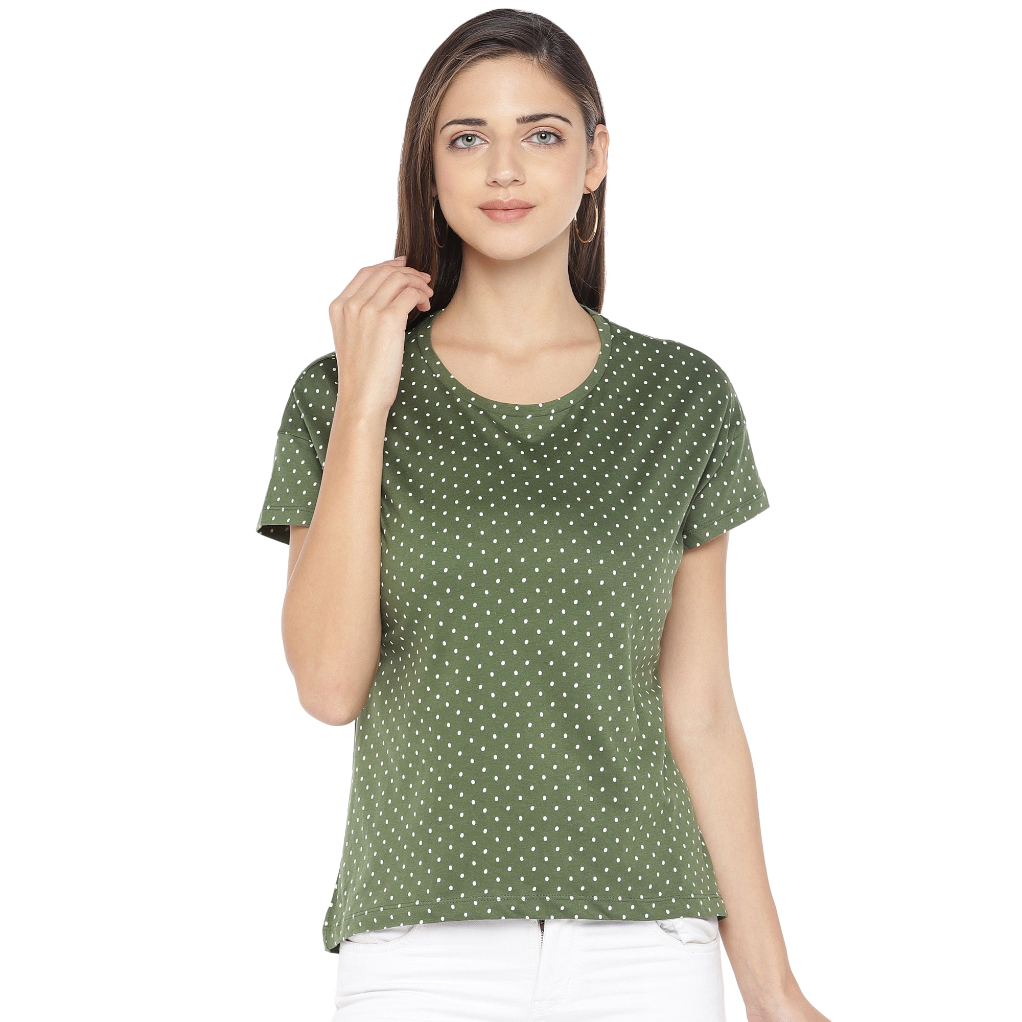 Olive Green & White Printed Round Neck T-shirt-1