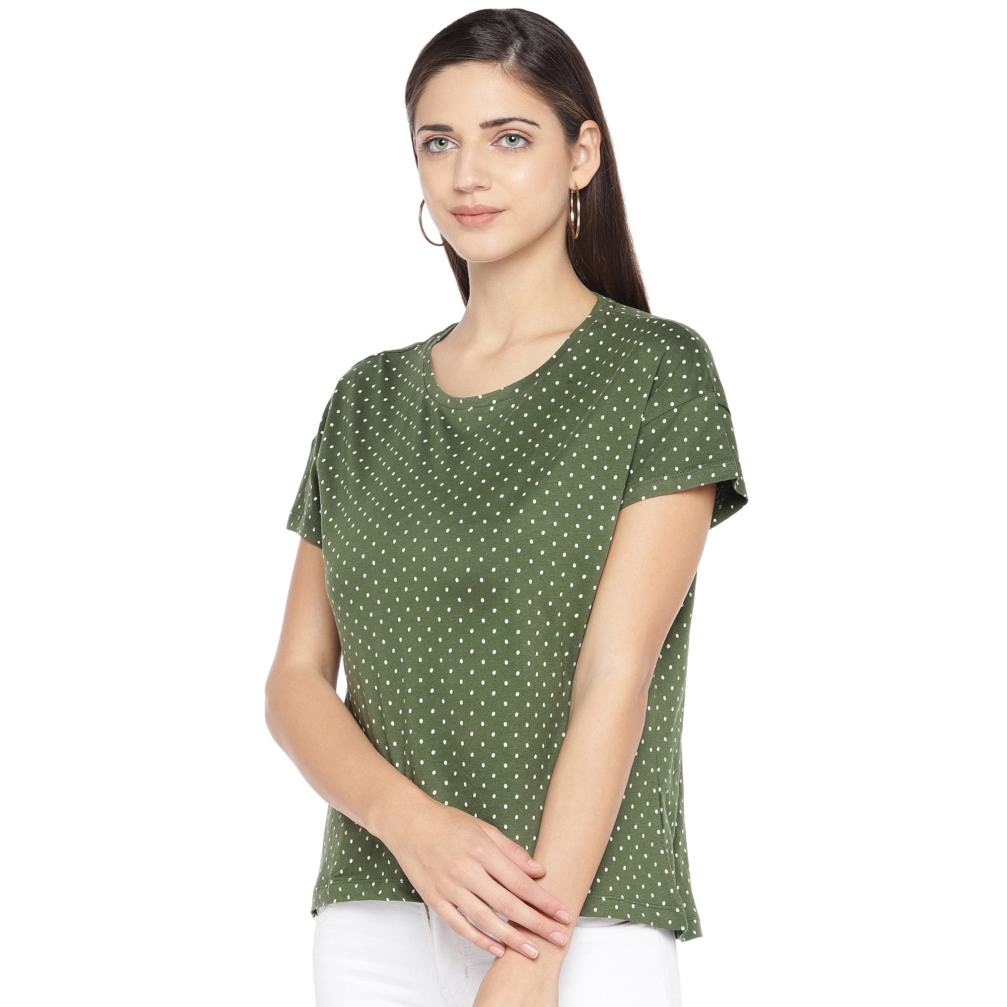 Olive Green & White Printed Round Neck T-shirt-2