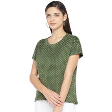 Load image into Gallery viewer, Olive Green & White Printed Round Neck T-shirt-2