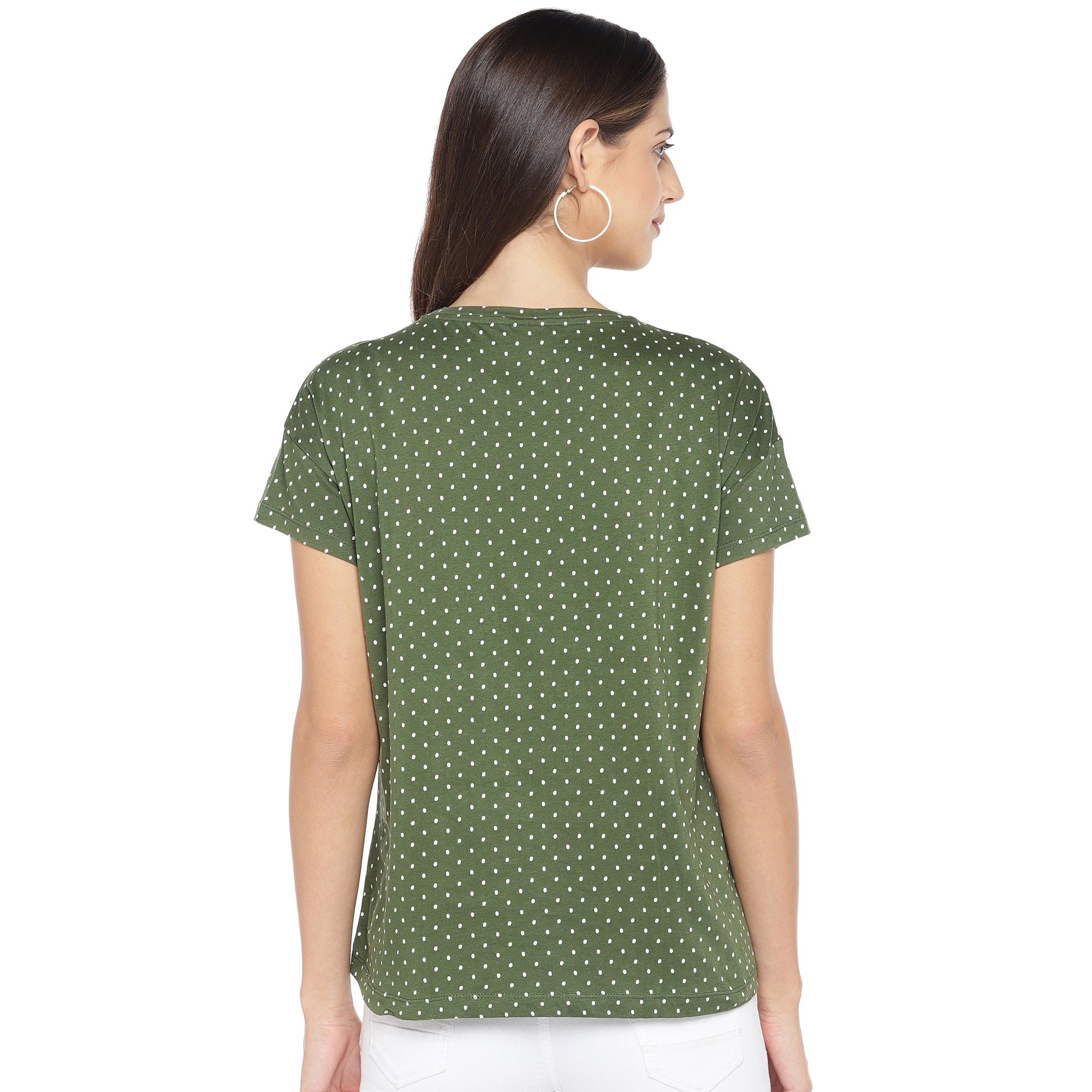 Olive Green & White Printed Round Neck T-shirt-3