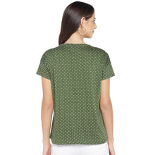 Load image into Gallery viewer, Olive Green & White Printed Round Neck T-shirt-3