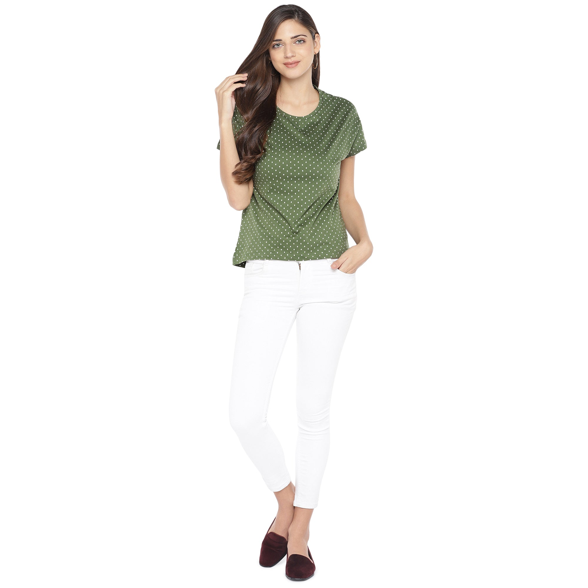 Olive Green & White Printed Round Neck T-shirt-4