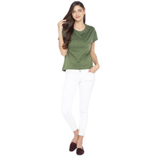 Load image into Gallery viewer, Olive Green & White Printed Round Neck T-shirt-4