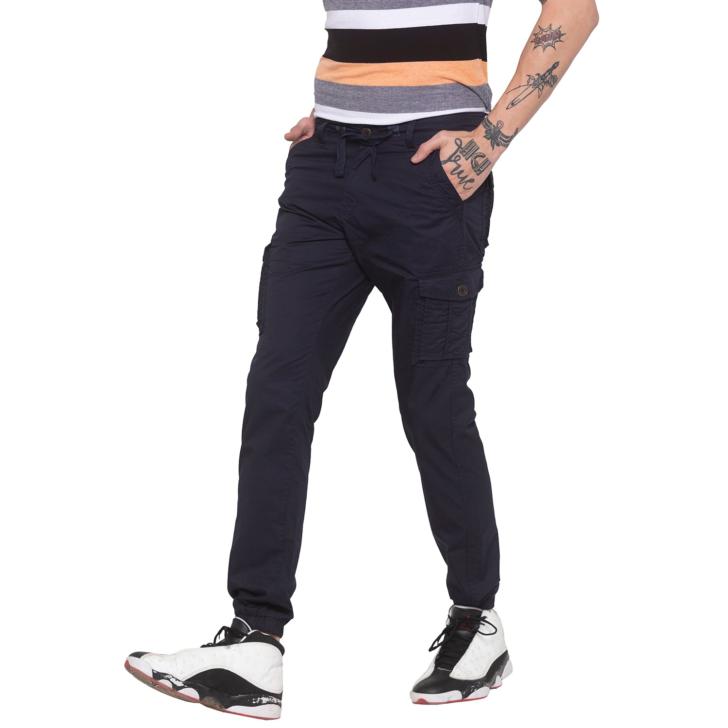 Navy Blue Cargo Pants-1