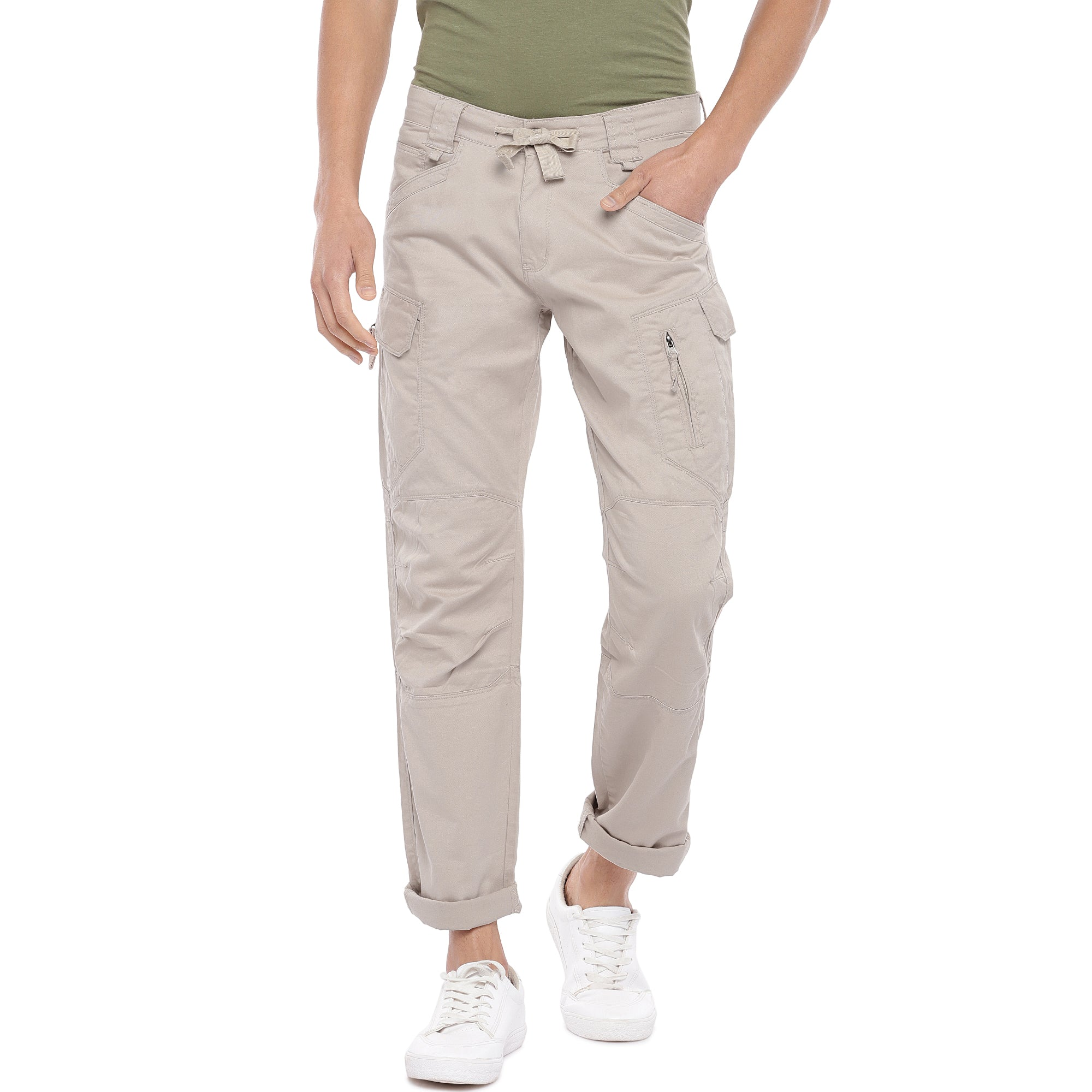 Beige Solid Slim Fit Cargos-1