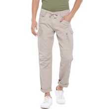 Load image into Gallery viewer, Beige Solid Slim Fit Cargos-1