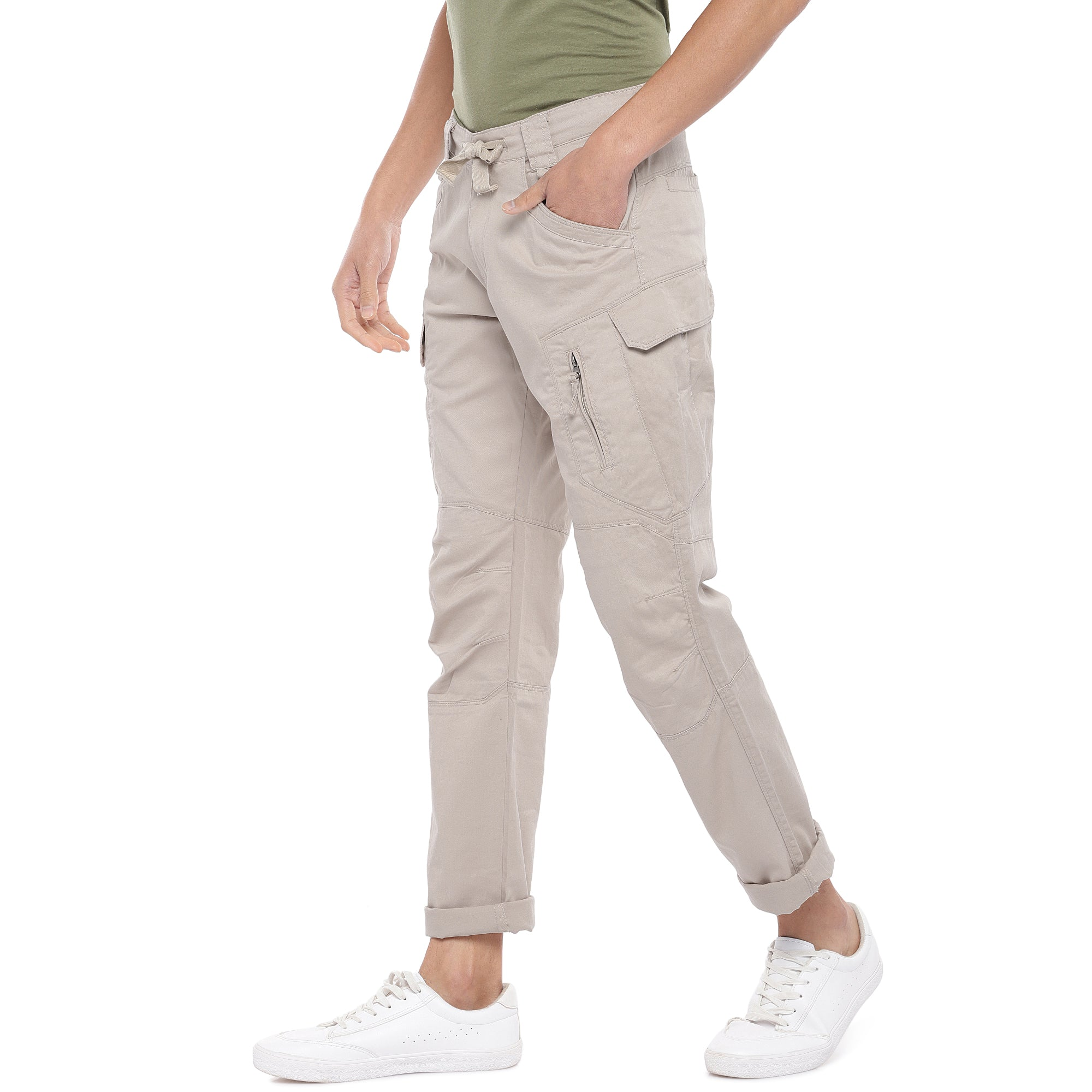 Beige Solid Slim Fit Cargos-2