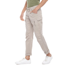 Load image into Gallery viewer, Beige Solid Slim Fit Cargos-2