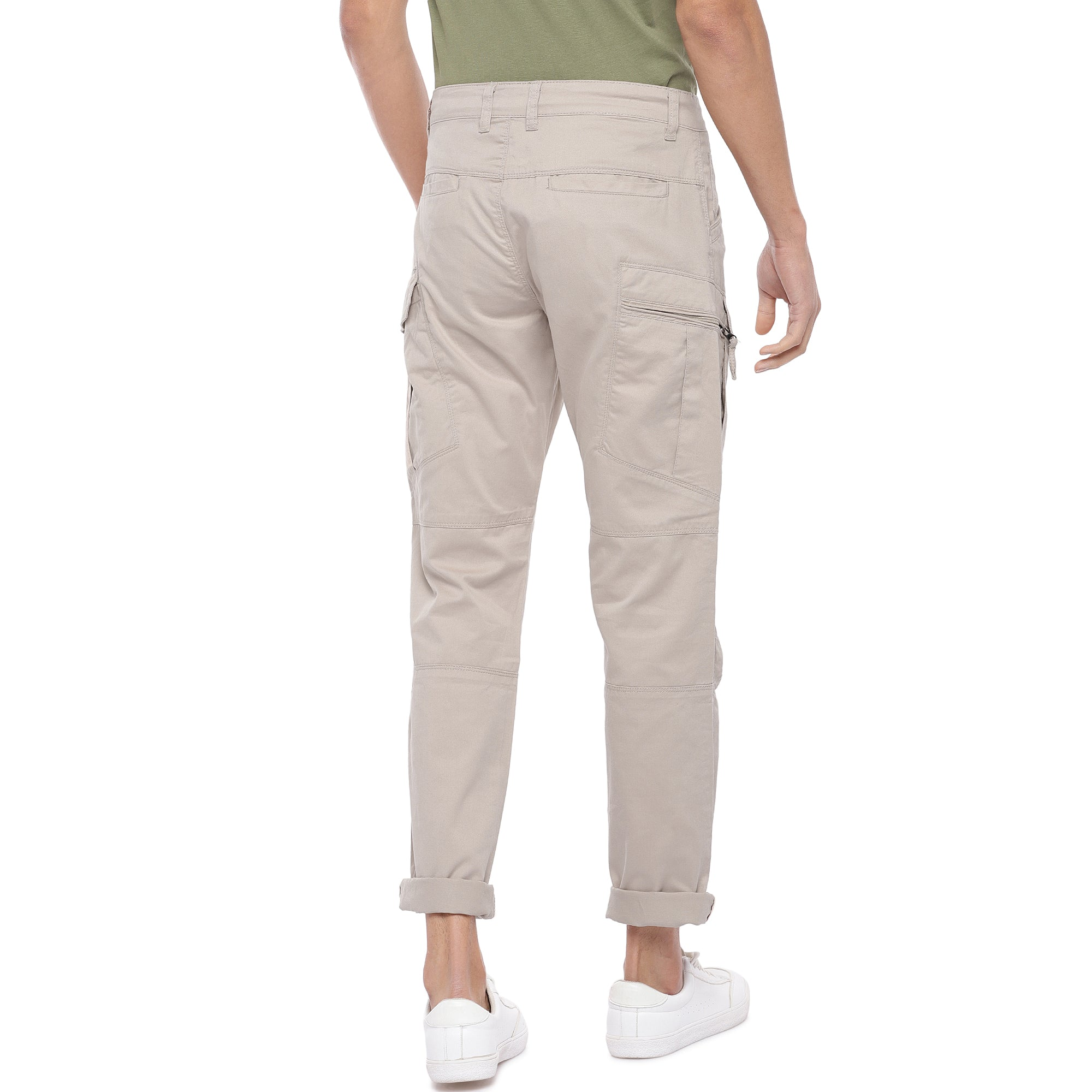 Beige Solid Slim Fit Cargos-3