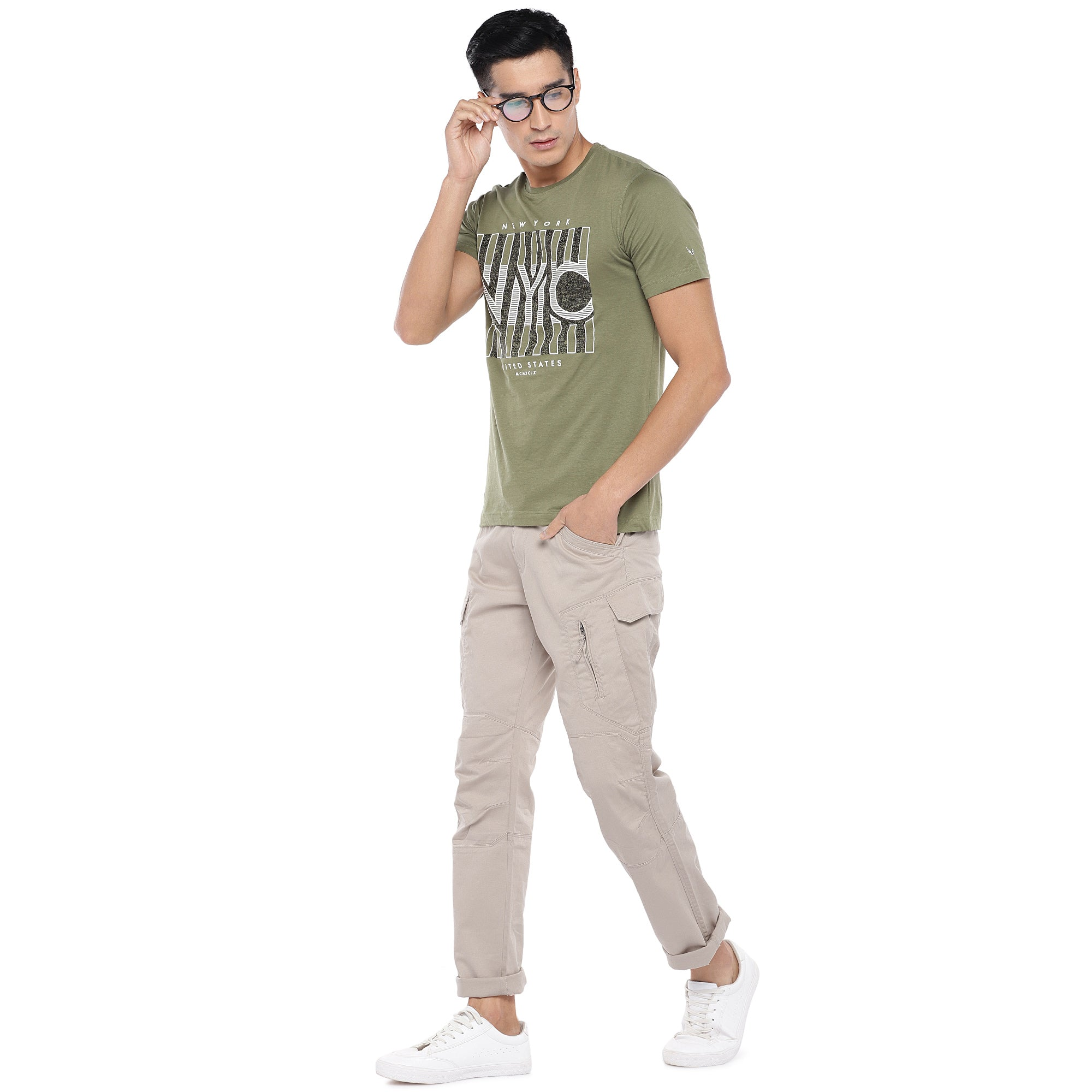 Beige Solid Slim Fit Cargos-4
