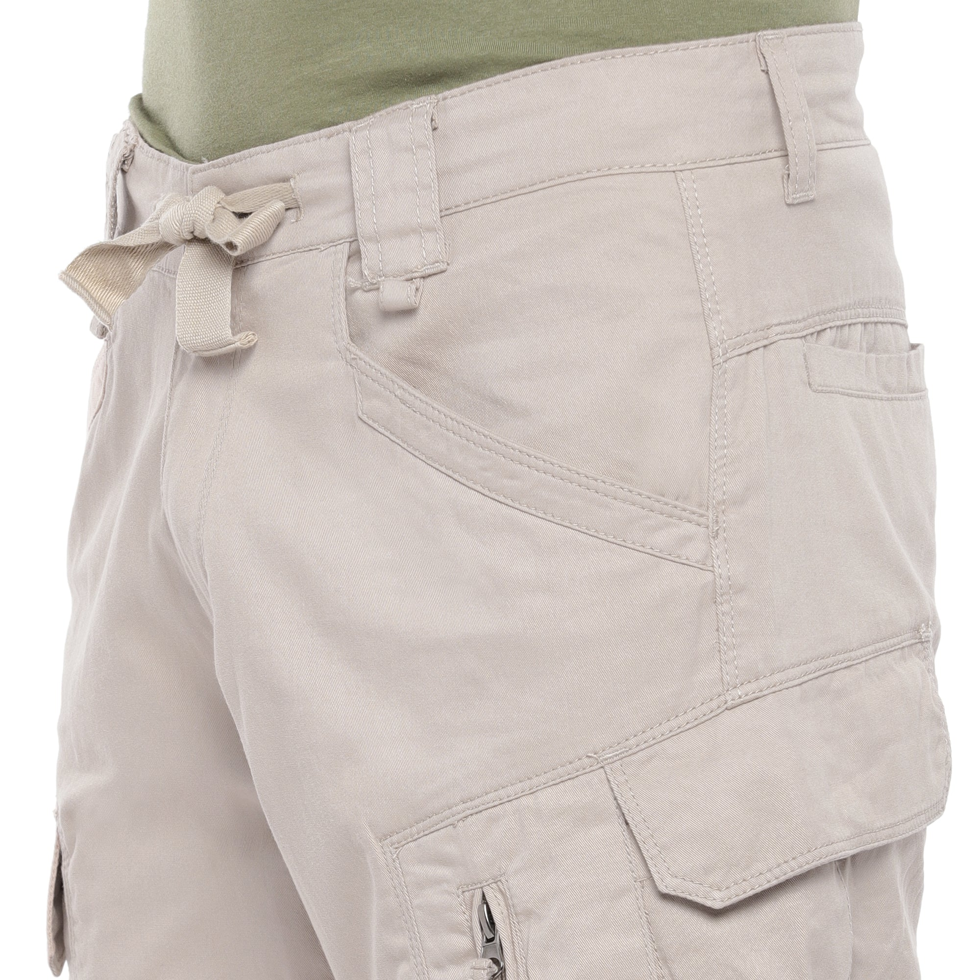Beige Solid Slim Fit Cargos-5