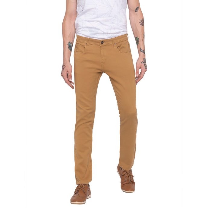 Solid Slim Fit Beige Chinos-1