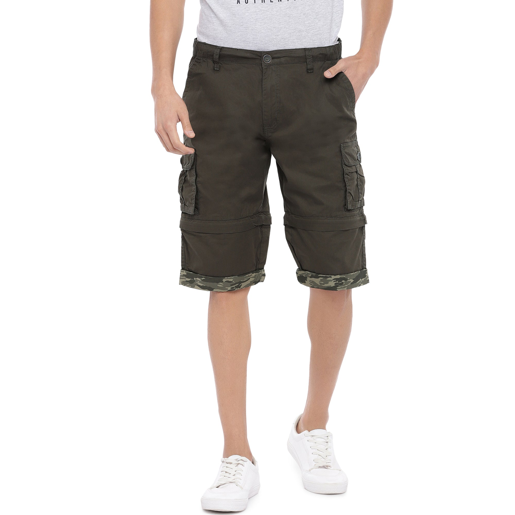 Olive Slim Fit Cargo Shorts-1
