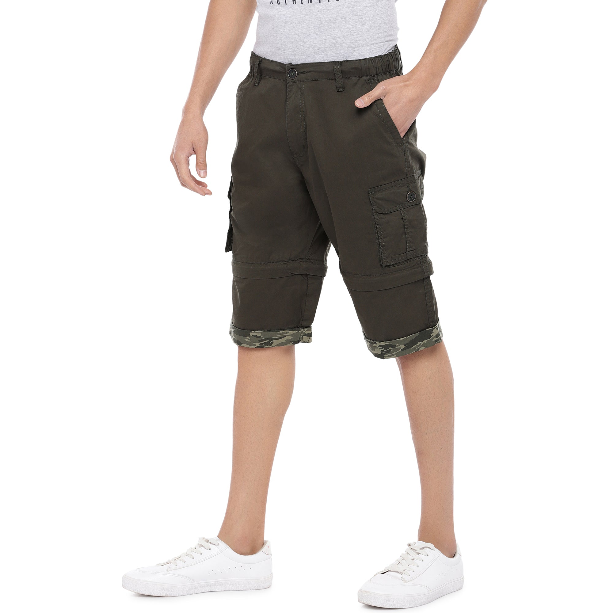 Olive Slim Fit Cargo Shorts-2