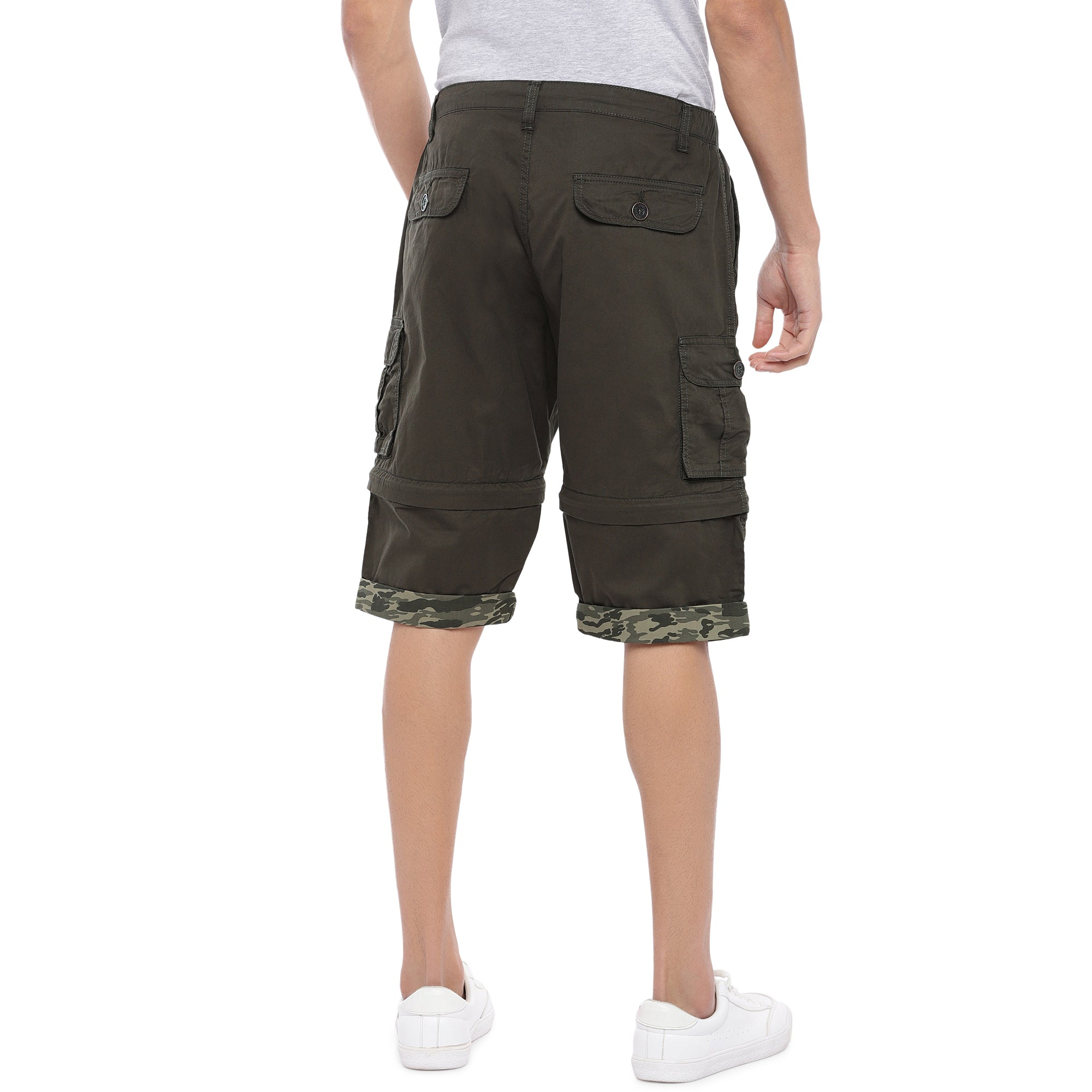 Olive Slim Fit Cargo Shorts-3