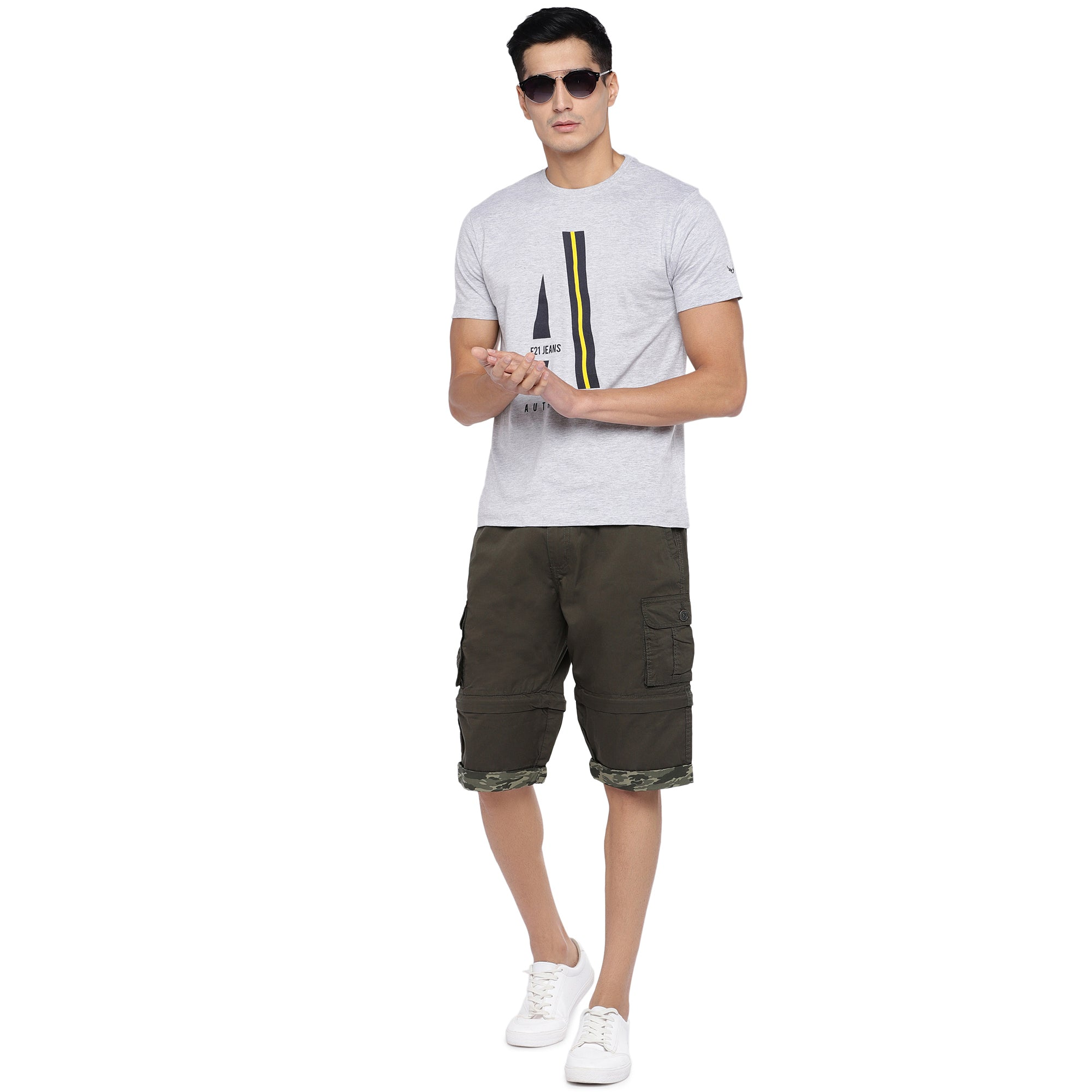 Olive Slim Fit Cargo Shorts-4