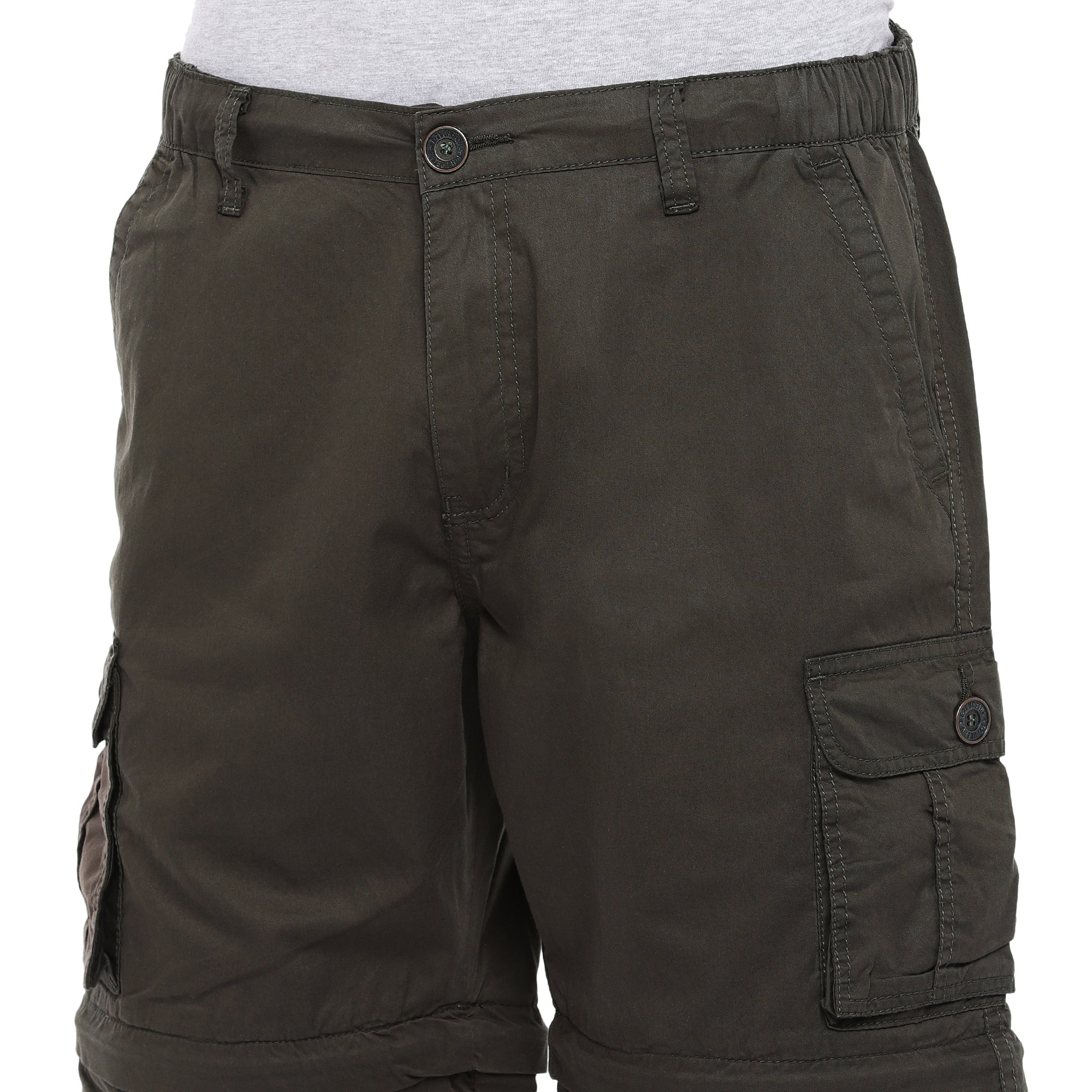 Olive Slim Fit Cargo Shorts-5