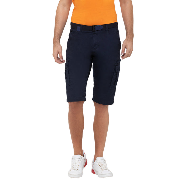 Globus Navy Blue Solid Shorts-1