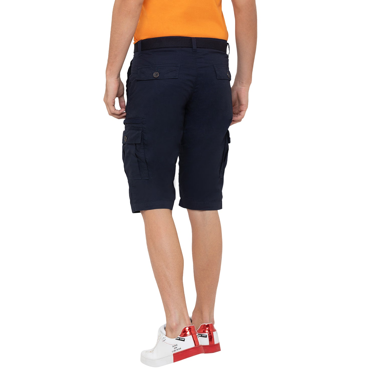 Globus Navy Blue Solid Shorts-3