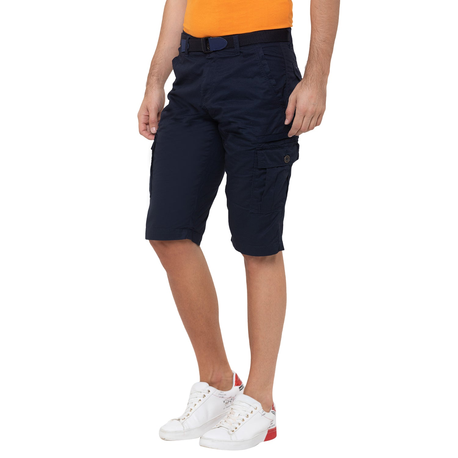 Globus Navy Blue Solid Shorts-4