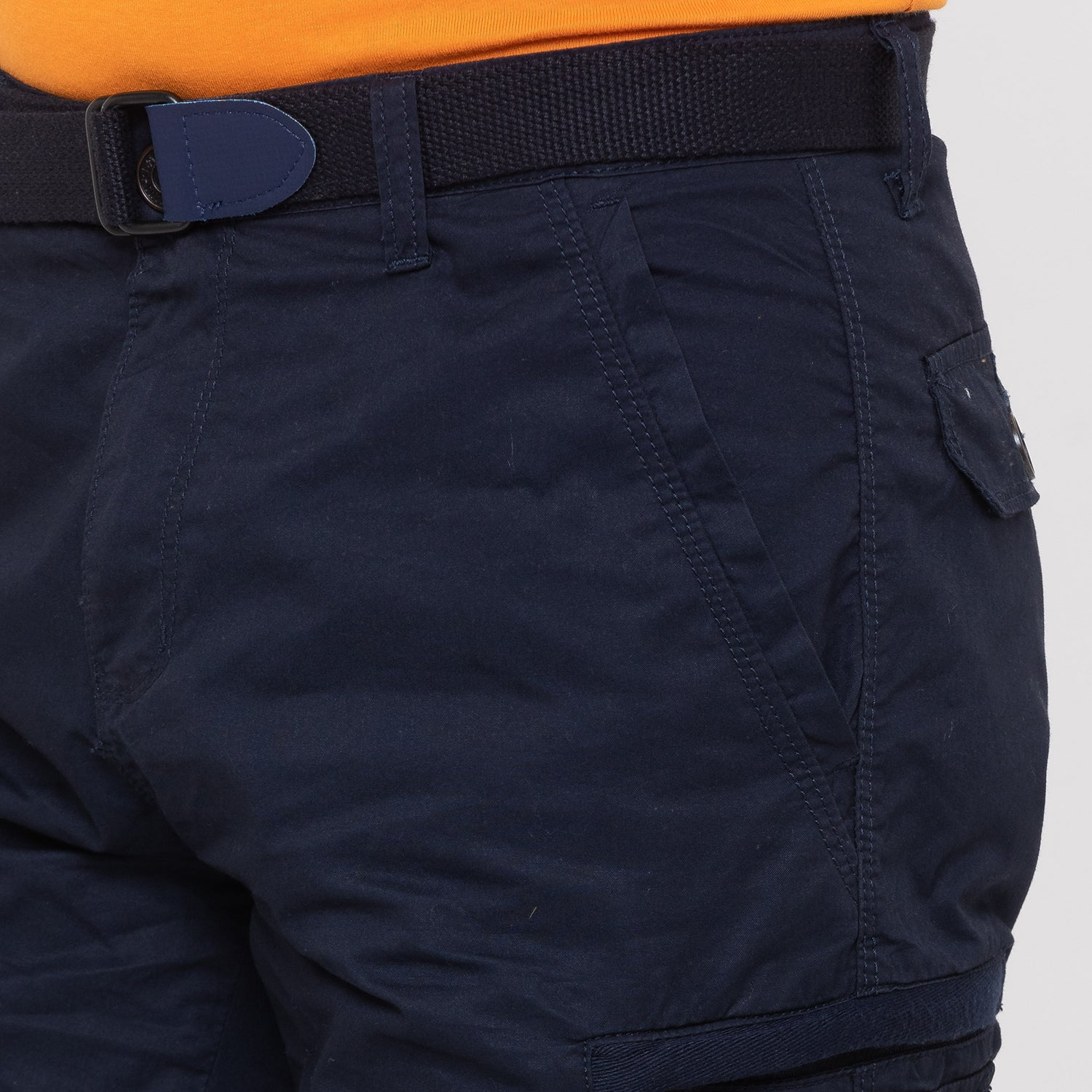 Globus Navy Blue Solid Shorts-5