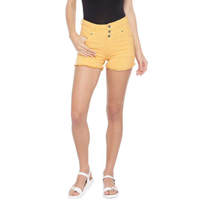 Yellow Solid Slim Fit Hot Pants-1
