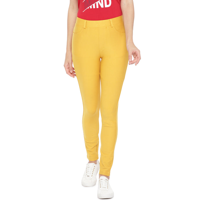 Yellow Slim Fit Solid Regular Trousers-1
