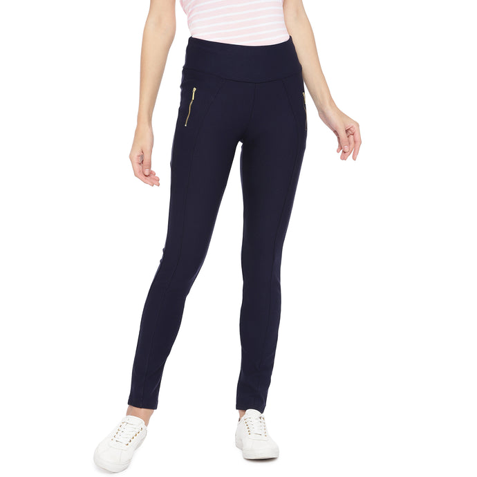 Navy Blue Solid Slim Fit Jeggings-1